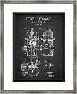 1903 Fire Hydrant Patent - Charcoal Framed Print by Aged Pixel