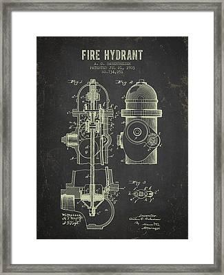 1903 Fire Hydrant Patent - Dark Grunge Framed Print