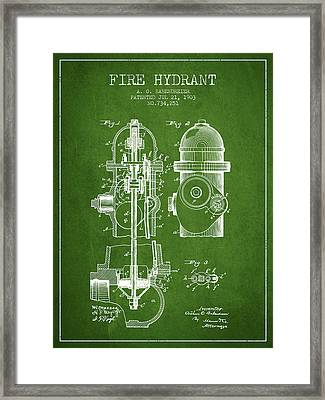 1903 Fire Hydrant Patent - Green Framed Print