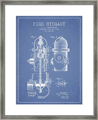 1903 Fire Hydrant Patent - Light Blue Framed Print