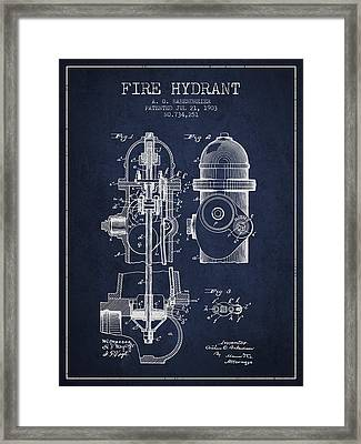 1903 Fire Hydrant Patent - Navy Blue Framed Print by Aged Pixel