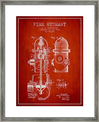 1903 Fire Hydrant Patent - Red Framed Print