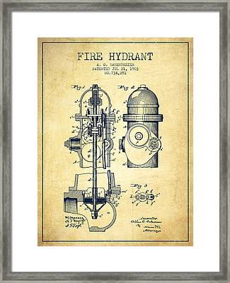 1903 Fire Hydrant Patent - Vintage Framed Print by Aged Pixel