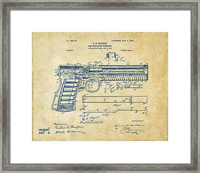 1903 Mcclean Pistol Patent Artwork - Vintage Framed Print by Nikki Marie Smith