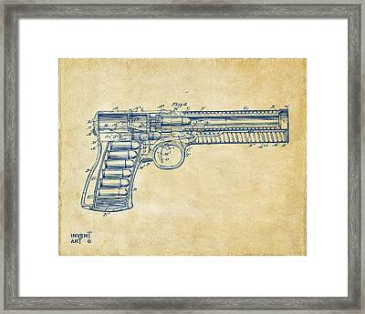 1903 Mcclean Pistol Patent Minimal - Vintage Framed Print by Nikki Marie Smith