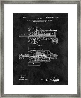 1903 Tractor Blueprint Patent Framed Print by Dan Sproul