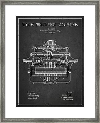 1903 Type Writing Machine Patent - Charcoal Framed Print