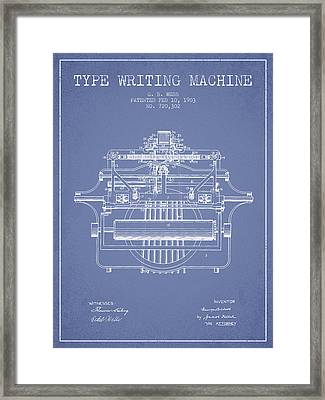 1903 Type Writing Machine Patent - Light Blue Framed Print