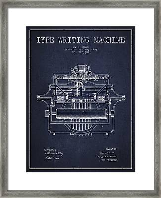 1903 Type Writing Machine Patent - Navy Blue Framed Print