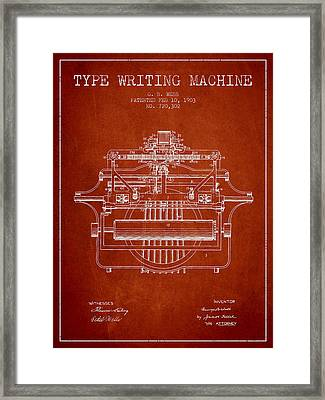 1903 Type Writing Machine Patent - Red Framed Print