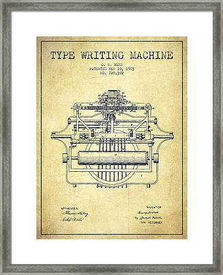 1903 Type Writing Machine Patent - Vintage Framed Print by Aged Pixel