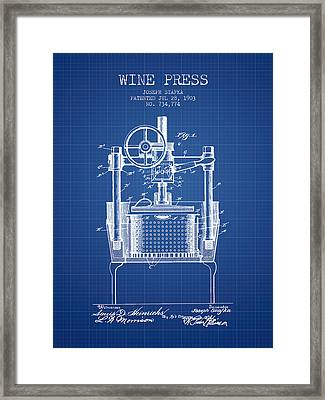 1903 Wine Press Patent - Blueprint Framed Print by Aged Pixel
