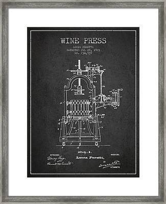1903 Wine Press Patent - Charcoal 02 Framed Print by Aged Pixel