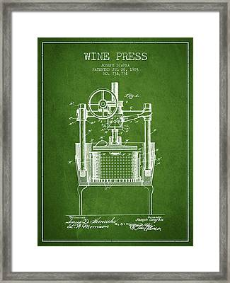 1903 Wine Press Patent - Green Framed Print by Aged Pixel