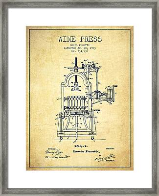 1903 Wine Press Patent - Vintage 02 Framed Print by Aged Pixel