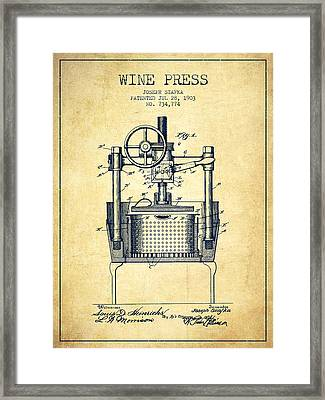 1903 Wine Press Patent - Vintage Framed Print by Aged Pixel