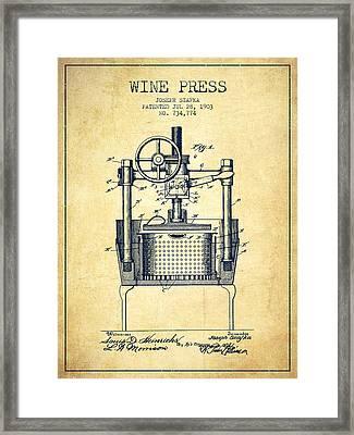 1903 Wine Press Patent - Vintage Framed Print