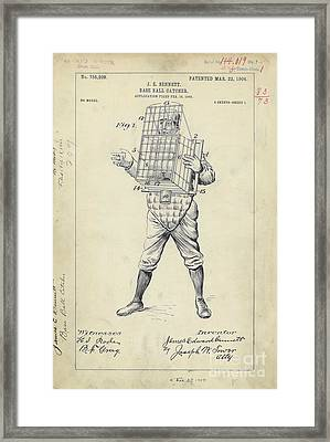 1904 Baseball Catcher Patent Framed Print by Jon Neidert