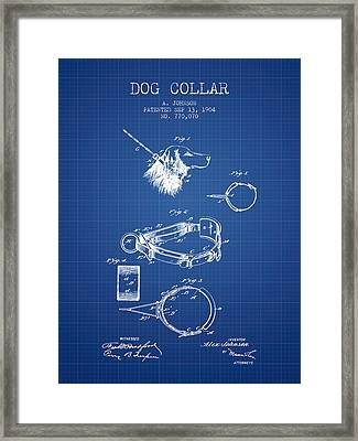 1904 Dog Collar Patent - Blueprint Framed Print