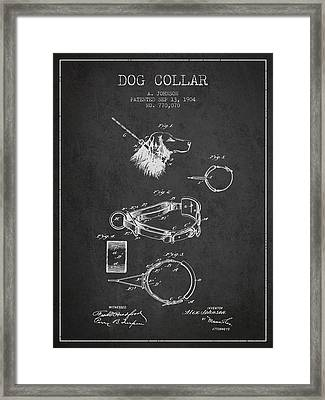 1904 Dog Collar Patent - Charcoal Framed Print by Aged Pixel