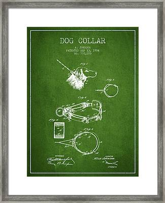1904 Dog Collar Patent - Green Framed Print