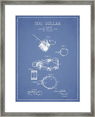 1904 Dog Collar Patent - Light Blue Framed Print