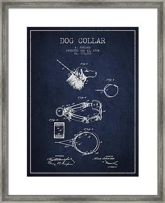 1904 Dog Collar Patent - Navy Blue Framed Print