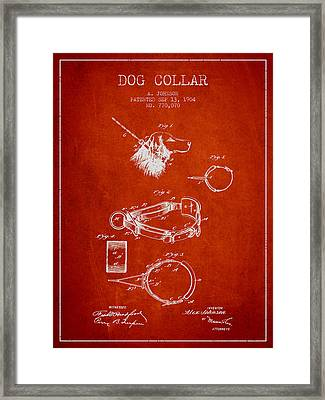 1904 Dog Collar Patent - Red Framed Print by Aged Pixel