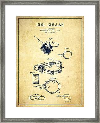 1904 Dog Collar Patent - Vintage Framed Print