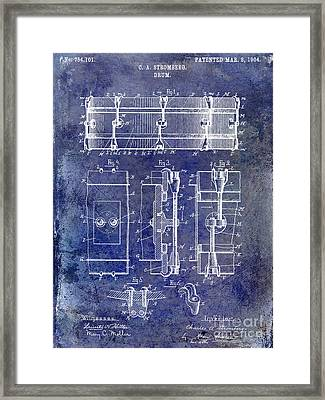 1904 Drum Patent Blue Framed Print