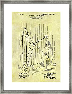 1904 Exercising Machine Patent Framed Print by Dan Sproul
