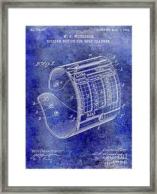 1904 Golf Scoring Device Blue Framed Print by Jon Neidert