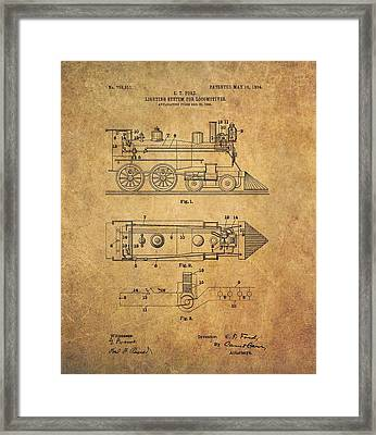 1904 Locomotive Patent Framed Print by Dan Sproul