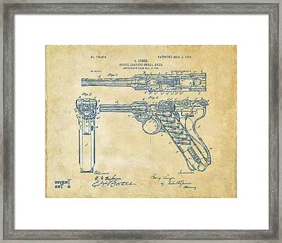 1904 Luger Recoil Loading Small Arms Patent - Vintage Framed Print by Nikki Marie Smith
