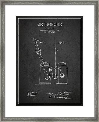1904 Metronome Patent - Charcoal Framed Print