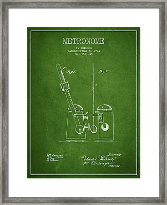 1904 Metronome Patent - Green Framed Print