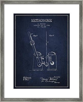1904 Metronome Patent - Navy Blue Framed Print