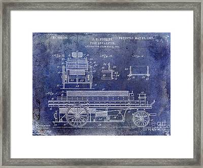 1905 Fire Apparatus Blue Framed Print by Jon Neidert