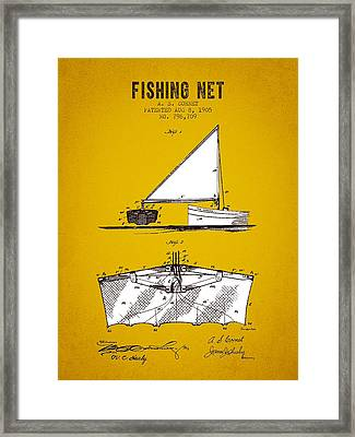 1905 Fishing Net Patent - Yellow Brown Framed Print by Aged Pixel