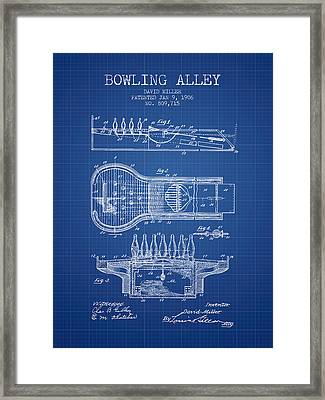 1906 Bowling Alley Patent - Blueprint Framed Print by Aged Pixel