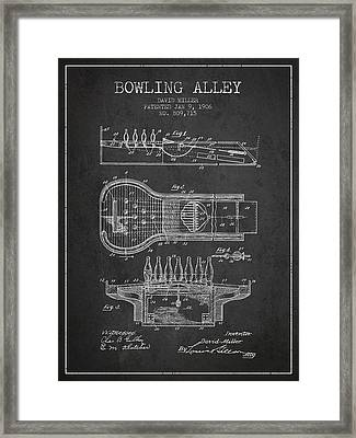 1906 Bowling Alley Patent - Charcoal Framed Print by Aged Pixel