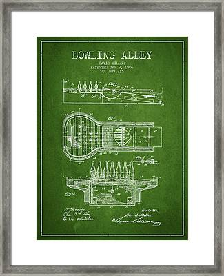 1906 Bowling Alley Patent - Green Framed Print