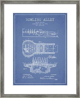 1906 Bowling Alley Patent - Light Blue Framed Print by Aged Pixel