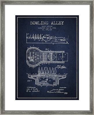 1906 Bowling Alley Patent - Navy Blue Framed Print