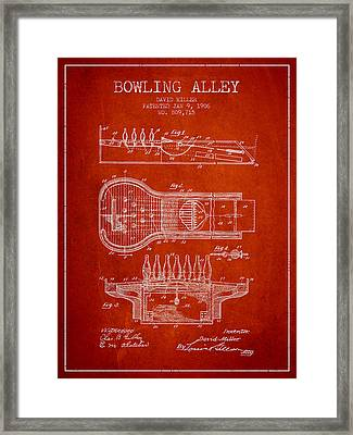 1906 Bowling Alley Patent - Red Framed Print