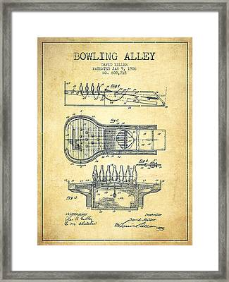 1906 Bowling Alley Patent - Vintage Framed Print by Aged Pixel