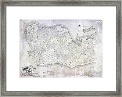 1906 Key West Map Framed Print by Jon Neidert