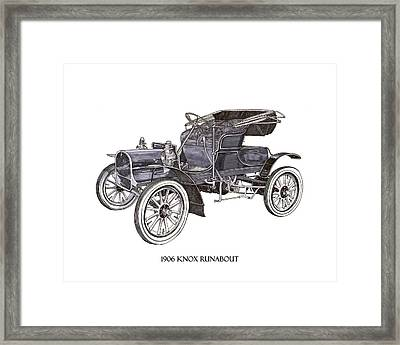 Framed Print featuring the drawing 1906 Knox Model F 3 Surry by Jack Pumphrey