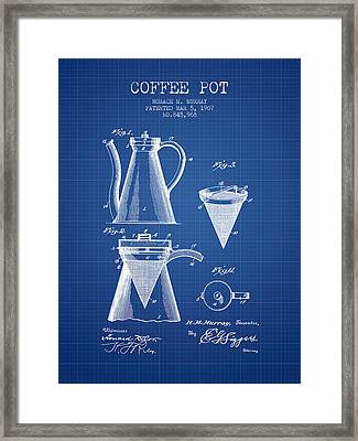 1907 Coffee Pot Patent - Blueprint Framed Print