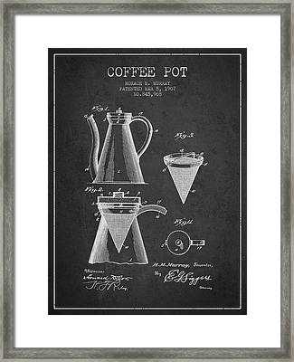 1907 Coffee Pot Patent - Charcoal Framed Print by Aged Pixel